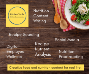 Services from Kitchen Table Nutrition Communications